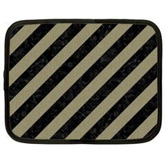 Stripes3 Black Marble & Khaki Fabric (r) Netbook Case (xxl)  by trendistuff