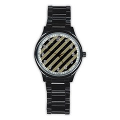 Stripes3 Black Marble & Khaki Fabric (r) Stainless Steel Round Watch by trendistuff
