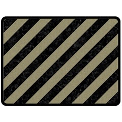 Stripes3 Black Marble & Khaki Fabric (r) Double Sided Fleece Blanket (large)  by trendistuff