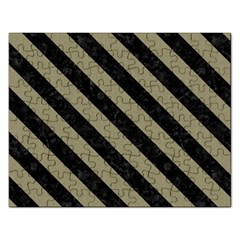 Stripes3 Black Marble & Khaki Fabric Rectangular Jigsaw Puzzl by trendistuff