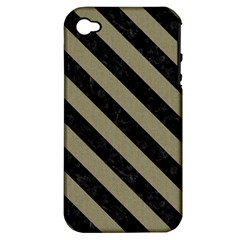 Stripes3 Black Marble & Khaki Fabric Apple Iphone 4/4s Hardshell Case (pc+silicone) by trendistuff