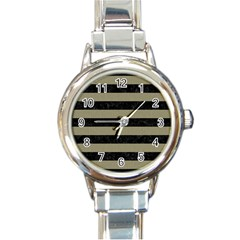 Stripes2black Marble & Khaki Fabric Round Italian Charm Watch by trendistuff