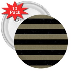 Stripes2black Marble & Khaki Fabric 3  Buttons (10 Pack)  by trendistuff