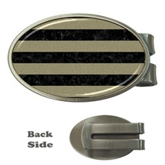 Stripes2black Marble & Khaki Fabric Money Clips (oval)  by trendistuff