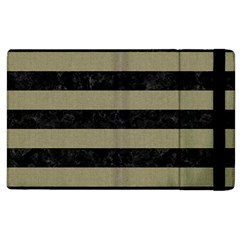 Stripes2black Marble & Khaki Fabric Apple Ipad 2 Flip Case by trendistuff