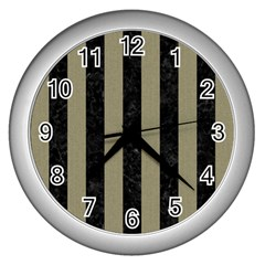 Stripes1 Black Marble & Khaki Fabric Wall Clocks (silver)  by trendistuff