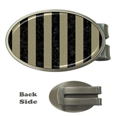 Stripes1 Black Marble & Khaki Fabric Money Clips (oval)  by trendistuff