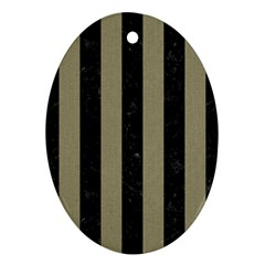 Stripes1 Black Marble & Khaki Fabric Oval Ornament (two Sides)