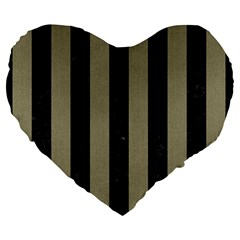 Stripes1 Black Marble & Khaki Fabric Large 19  Premium Heart Shape Cushions by trendistuff