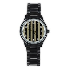 Stripes1 Black Marble & Khaki Fabric Stainless Steel Round Watch
