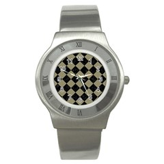 Square2 Black Marble & Khaki Fabric Stainless Steel Watch by trendistuff
