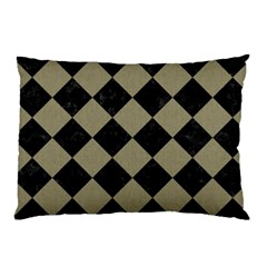 Square2 Black Marble & Khaki Fabric Pillow Case by trendistuff