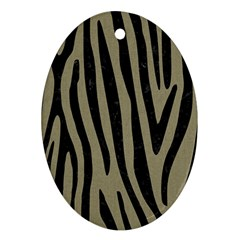 Skin4 Black Marble & Khaki Fabric (r) Oval Ornament (two Sides)