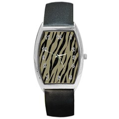 Skin3 Black Marble & Khaki Fabric Barrel Style Metal Watch by trendistuff