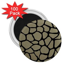 Skin1 Black Marble & Khaki Fabric (r) 2 25  Magnets (100 Pack)  by trendistuff
