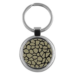 Skin1 Black Marble & Khaki Fabric (r) Key Chains (round)  by trendistuff