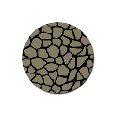 Skin1 Black Marble & Khaki Fabric (r) Rubber Round Coaster (4 Pack)  by trendistuff