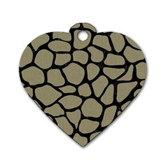 Skin1 Black Marble & Khaki Fabric (r) Dog Tag Heart (two Sides) by trendistuff