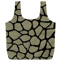 Skin1 Black Marble & Khaki Fabric (r) Full Print Recycle Bags (l)  by trendistuff
