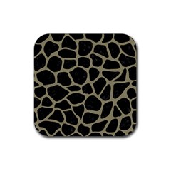 Skin1 Black Marble & Khaki Fabric Rubber Square Coaster (4 Pack)  by trendistuff