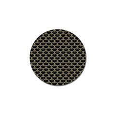 Scales3 Black Marble & Khaki Fabric (r) Golf Ball Marker by trendistuff