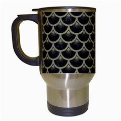 Scales3 Black Marble & Khaki Fabric (r) Travel Mugs (white) by trendistuff