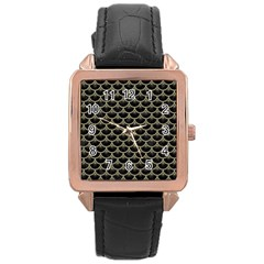 Scales3 Black Marble & Khaki Fabric (r) Rose Gold Leather Watch  by trendistuff