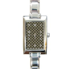 Scales3 Black Marble & Khaki Fabric Rectangle Italian Charm Watch by trendistuff