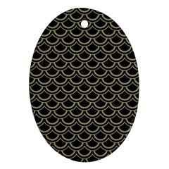 Scales2 Black Marble & Khaki Fabric (r) Ornament (oval) by trendistuff