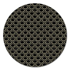 Scales2 Black Marble & Khaki Fabric (r) Magnet 5  (round)