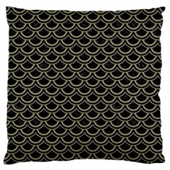 Scales2 Black Marble & Khaki Fabric (r) Large Flano Cushion Case (one Side) by trendistuff