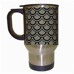 Scales2 Black Marble & Khaki Fabric Travel Mugs (white) by trendistuff