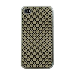 Scales2 Black Marble & Khaki Fabric Apple Iphone 4 Case (clear) by trendistuff