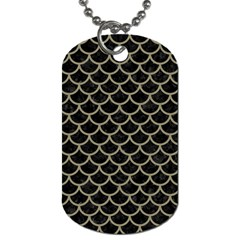 Scales1 Black Marble & Khaki Fabric (r) Dog Tag (one Side)