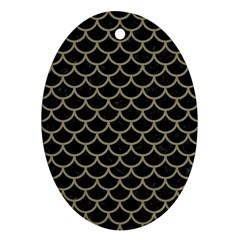 Scales1 Black Marble & Khaki Fabric (r) Oval Ornament (two Sides)