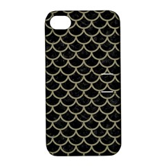 Scales1 Black Marble & Khaki Fabric (r) Apple Iphone 4/4s Hardshell Case With Stand by trendistuff