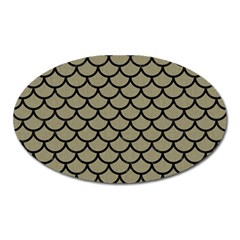 Scales1 Black Marble & Khaki Fabric Oval Magnet