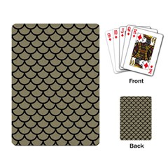 Scales1 Black Marble & Khaki Fabric Playing Card by trendistuff
