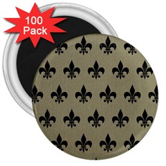 Royal1 Black Marble & Khaki Fabric (r) 3  Magnets (100 Pack) by trendistuff