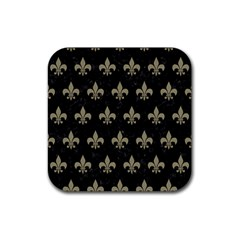 Royal1 Black Marble & Khaki Fabric Rubber Square Coaster (4 Pack)  by trendistuff