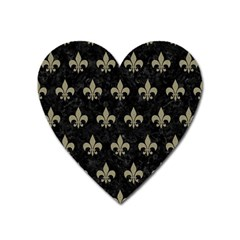 Royal1 Black Marble & Khaki Fabric Heart Magnet by trendistuff
