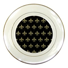 Royal1 Black Marble & Khaki Fabric Porcelain Plates by trendistuff