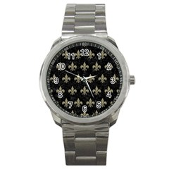 Royal1 Black Marble & Khaki Fabric Sport Metal Watch by trendistuff