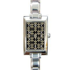 Puzzle1 Black Marble & Khaki Fabric Rectangle Italian Charm Watch by trendistuff