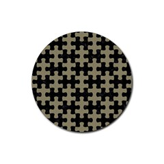Puzzle1 Black Marble & Khaki Fabric Rubber Round Coaster (4 Pack)  by trendistuff