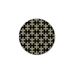 Puzzle1 Black Marble & Khaki Fabric Golf Ball Marker by trendistuff