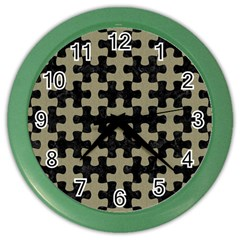 Puzzle1 Black Marble & Khaki Fabric Color Wall Clocks by trendistuff