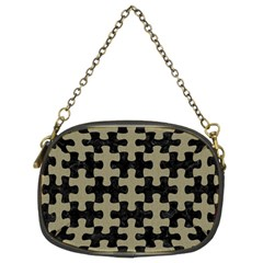 Puzzle1 Black Marble & Khaki Fabric Chain Purses (two Sides)  by trendistuff