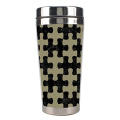 Puzzle1 Black Marble & Khaki Fabric Stainless Steel Travel Tumblers by trendistuff