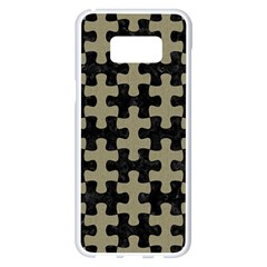 Puzzle1 Black Marble & Khaki Fabric Samsung Galaxy S8 Plus White Seamless Case by trendistuff
